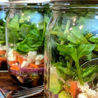 Mason Jar Spinach and Feta Salad.