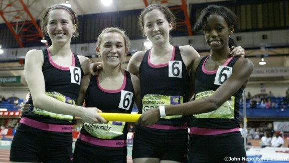 The Grosse Pointe South quartet of Haley and Hannah Meier, Kelsie Schwartz, and Ersula Farrow shown after winning the NBNI DMR in 2012.