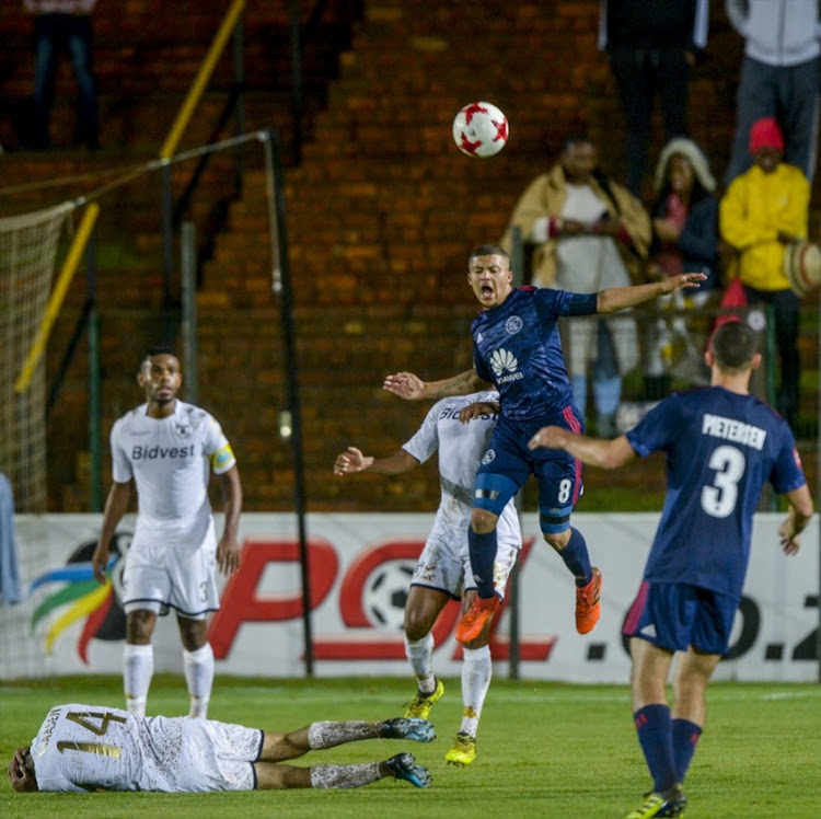 Grant Margeman of Ajax Cape Town wins possession during the Absa Premiership match between Bidvest Wits and Ajax Cape Town at Bidvest Stadium on December 06, 2017 in Johannesburg.
