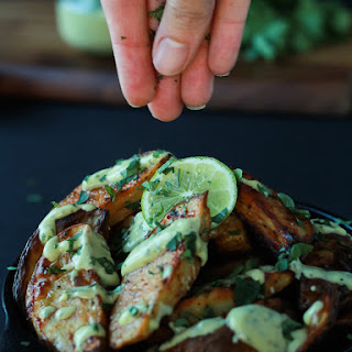 Oven Roasted Potato Wedges with Avocado Wasabi Aioli