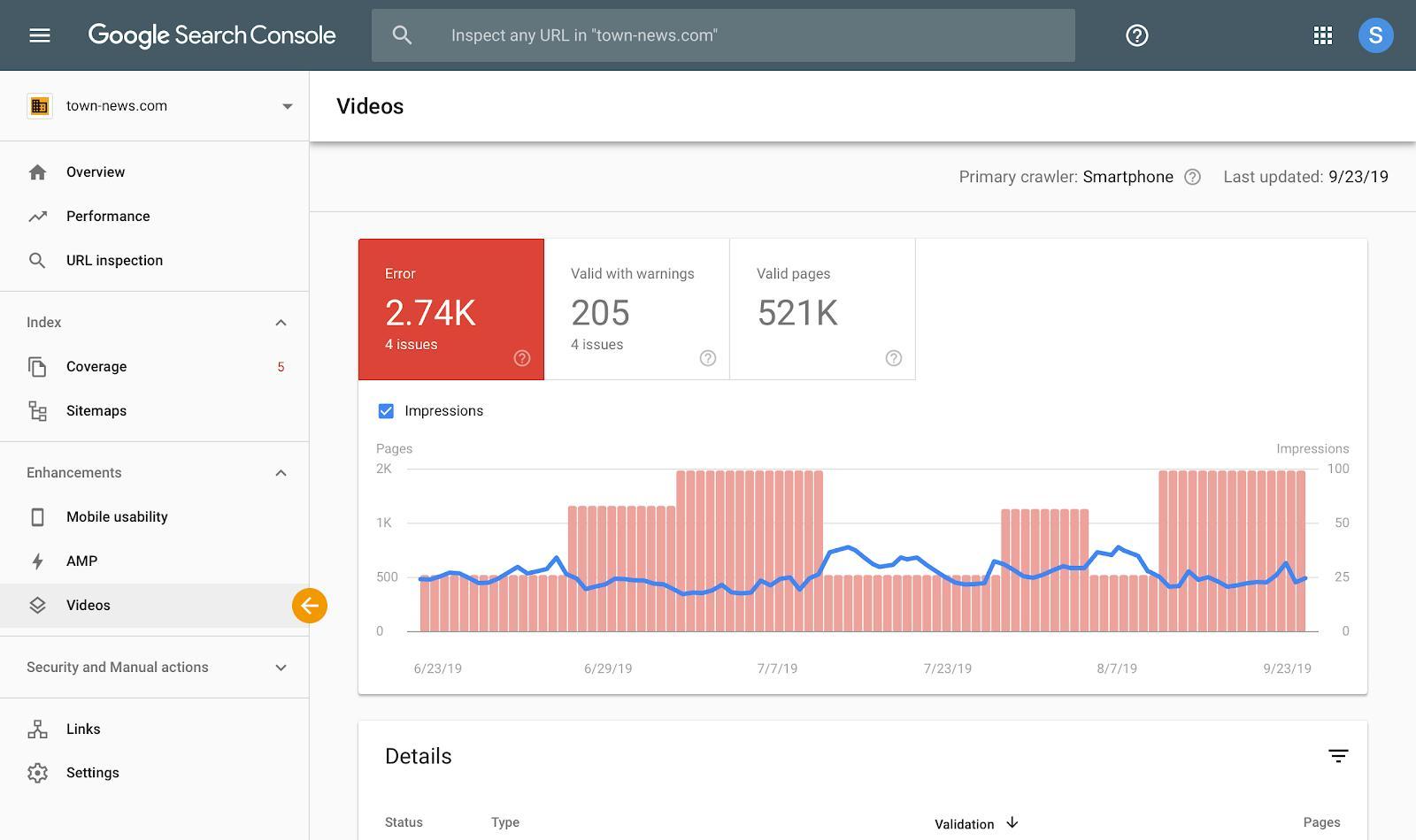 Nuevos informes para los resultados de vídeo en Google Search Console 3