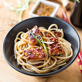 Teriyaki Salmon Noodle Bowls with a Sesame-Ginger Sauce.