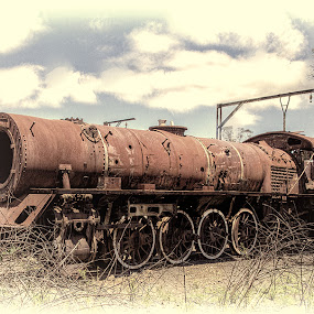 Bygone glories by Ian Damerell - Transportation Trains ( steam engine, old, transport, train, decay )