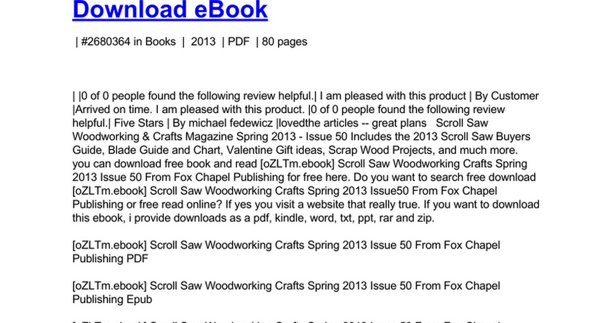 Scroll Saw Woodworking Crafts Spring 2013 Issue 50 Doc Google Docs