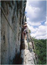 Photo: I'm on Conn's East 5.5; a second pitch? Seneca Rocks, WV. 5.5 Aug. 1, 2004 FujiGA645ZI.
