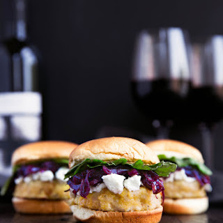 Turkey Sliders with Red Wine Caramelized Onions and Goat Cheese