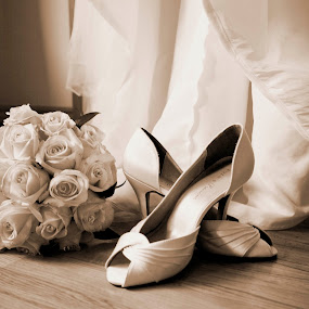 by Helen Quirke  - Wedding Getting Ready ( shoes, bouquet, sepia, bridal, dress, gown )