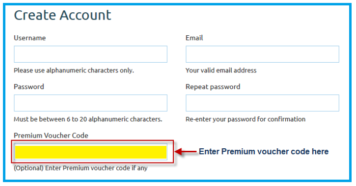 Enter Voucher Code on the yellow highlighted field
