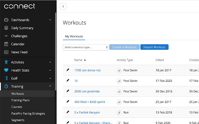 Share your Garmin Connect workout