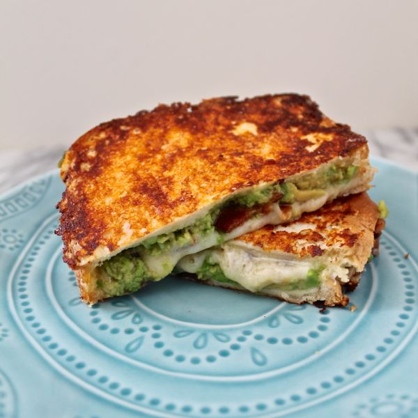 Cheddar, Avocado, Bacon Grilled Cheese with a Cheesy Crust Recipe ...