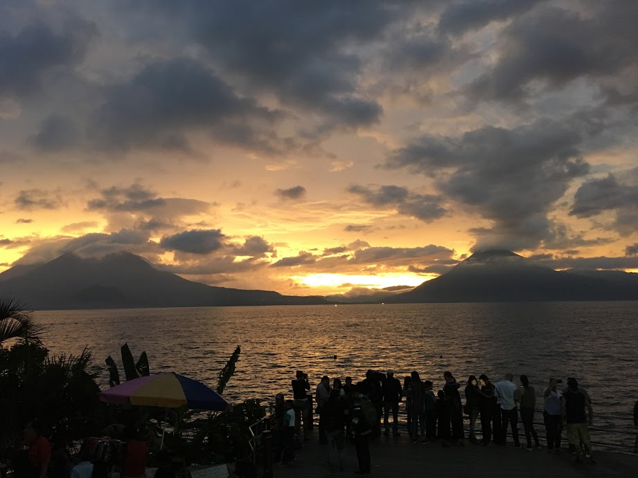 Unedited, unfiltered sunset view of Lake Atitlan from Panajachel's waterfront.