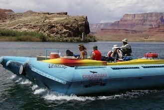 Photo: Raft shuttle up river to put-in below dam.