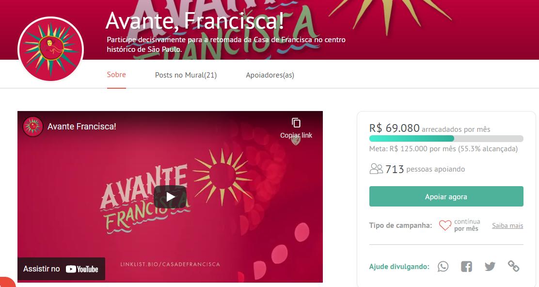 Vaquinha online Avante, Francisca