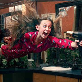 Get More Power. by Braxton Wilhelmsen - News & Events World Events ( flying, girl, braxton bruce, blow dryer, advertising, photography )