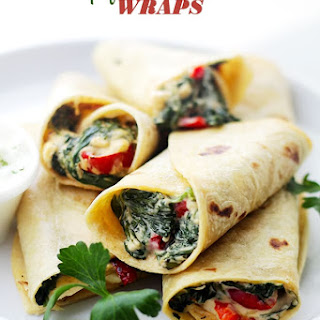 Creamy Spinach and Feta Cheese Tortilla Wraps.