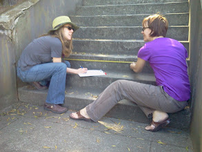 Photo: Hidden Garden Steps organizing committee members taking measurements of the Steps (16th Avenue, between Kirkham and Lawton streets in San Francisco's Inner Sunset District) so project artists Aileen Barr and Colette Crutcher can continue preparing a full-scale illustration of the ceramic-tiled step mosaic design in October 2012.For more information about the project, please visit http://hiddengardensteps.org.