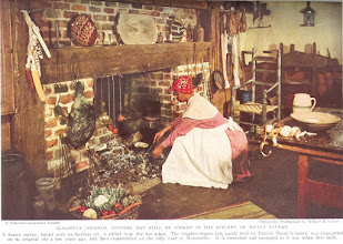 Photo: According to the caption, the cook has just pulled the turkey, cooked with it's feathers still on from the ashes. This is a Virginai inn, partially built by Patrick Henry's father. It was dismantled and moved to Monticello. Those poor women of the good old days sure spent a lot of time on the floor. If you haven't looked yet, check the Victorian kitchens out.