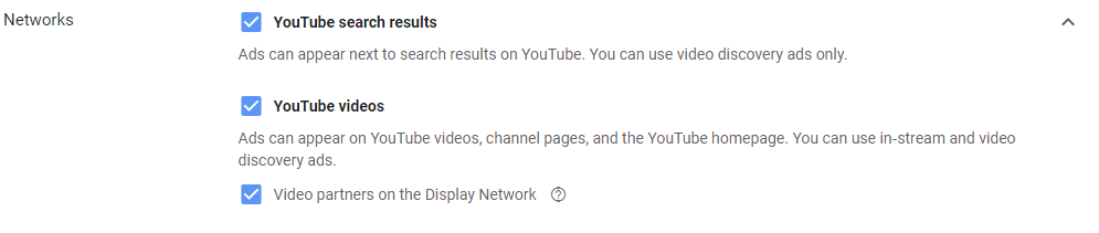 choices of networks for video ads for youtube ad campaigns