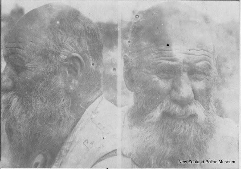 Photo: Thomas Brown (b. 1842, New South Wales). Charged with procuring an abortion and sentenced to 5 years on 26 September 1904 (New Plymouth). Photograph taken on 28 February 1908 in Waiotapu.