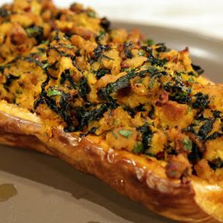 Stuffed Butternut Squash with Chicken Sausage and Kale.