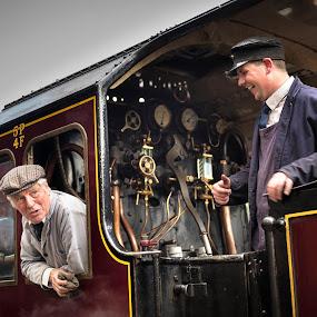 Stationary by James Johnstone - Transportation Trains ( platform, railway, station, engine, fireman, train, driver, tracks, steam )