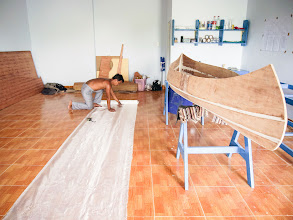 Photo: cutting the fiberglass fabric