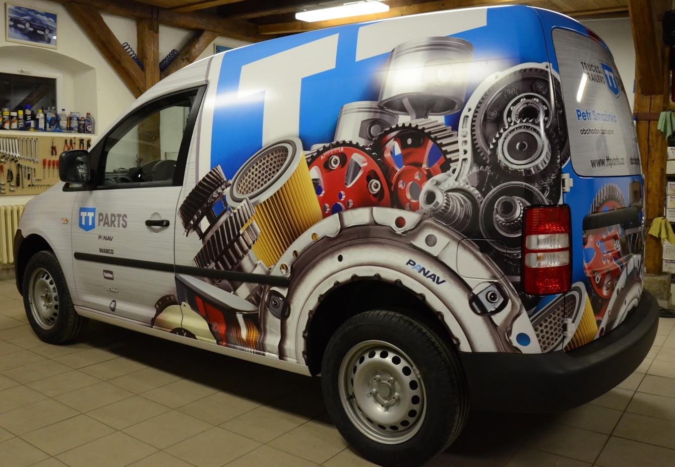 Příklad tištěné reklamy celopolep VW CADDY
