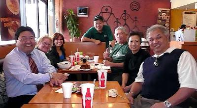 Photo: Glenn, I Believe (Kauai), Ronnie, hawnstln, UKU@la, Chris (Ono Ono owner), and Mike (hawnstln's friend). Ono Ono Hawaiian BBQ - Tustin, CA 2/21/2008 • Photo courtesy of hawnstln