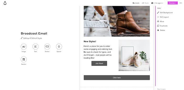 visual email builder with boot images and CTA buttons