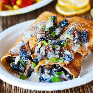 Crepes With Creamy Chicken And Mushroom Filling.