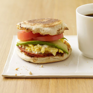 Egg, Canadian Bacon, Avocado and Tomato Sandwiches
