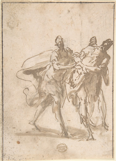 Three Figures (recto); Sketches of Kneeling Figures and Putti (verso)