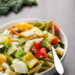 Pasta and Roasted Vegetables with Creamy Kale Sauce.