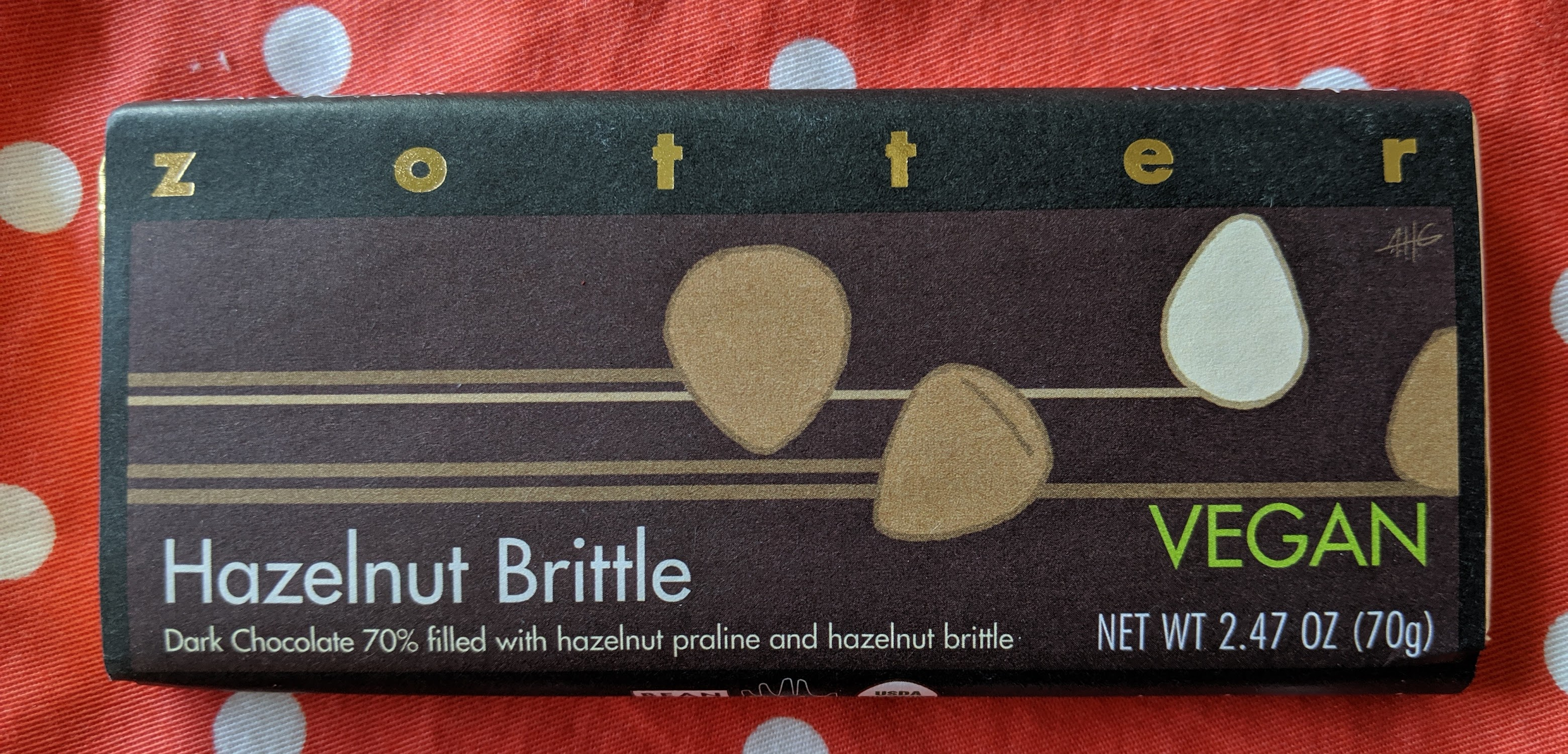 70% zotter hazelnut brittle bar