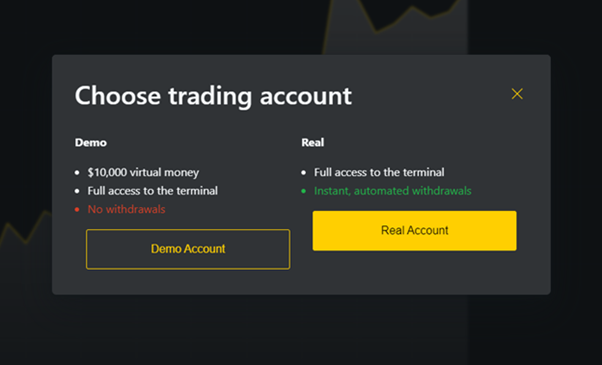 Choosing the type of Exness trading account