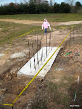 Photo: Lizzy posing behind a footing for a bridge pier.   2009-1127 HALS Anniversary Meet