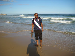 Photo: Fine, I'll pose for a picture... Ipanema Beach (photo credit: Raj Dhar)