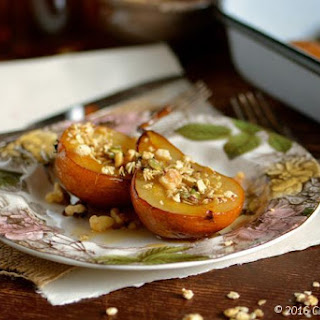 Maple Roasted Bosc Pears with Pumpkin Granola & Walnuts