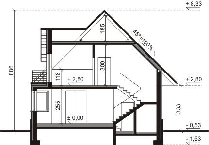 Dom przy Sielskiej 3 - Przekrój