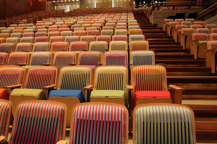 El tapiz que cubre las butacas de la Sala Simón Bolívar es también obra de este artista cinético venezolano Carlos Cruz-Diez.