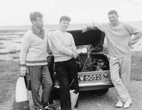 Photo: Pollock Holes, Kilkee. Aug '61 l to r Ronnie Hurley, Ray Doyle and Mick Moriarty. Note the lobster carrying cage in the car boot