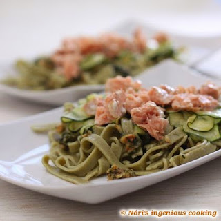 Homemade Gluten Free Spinach Tagliatelle With Grilled Salmon, Zucchini And Basil Pesto