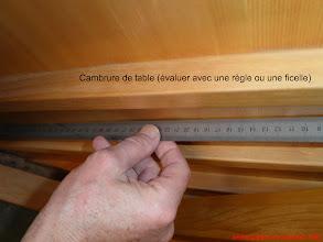 Photo: Un jour de qq mm est le signe d'une table très cambrée, soit par construction, soit par sa bonne conservation. Un table a la cambrure inversée dénote une pression faible des cordes et un mauvais rendement.