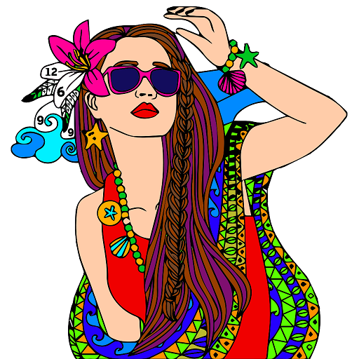 Girls Color by Number: Fashion Coloring Book Pages Icon
