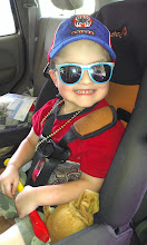 """Photo: It's time to go shopping for the Jennie-O Make the Switch Challenge for Champions for Kids. Let's make it a Family Day!! The Boy is ready in his carseat with his Spiderman cap, sunglasses, """"whistle"""", Lucky charm shamrock blinking necklace, and puppy puppet. ;)"""