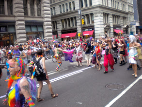 Photo: The Heritage of Pride gay pride march, Fifth Avenue between 18 and 17 streets, Chelsea, 26 June 2011. (Photograph by Elyaqim Mosheh Adam.)