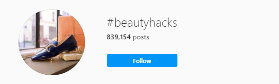 Using hashtags to find the top micro-influencers. In this case the hashtag #beautyhacks is used to search influencers.