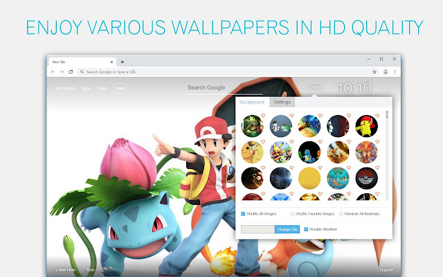 Pokemon Wallpaper HD Pikachu New Tab Themes