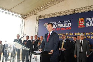 Photo: Prefeito Gilberto Kassab durante evento de lançamento do convênio para implementação do Parque Tecnológico.