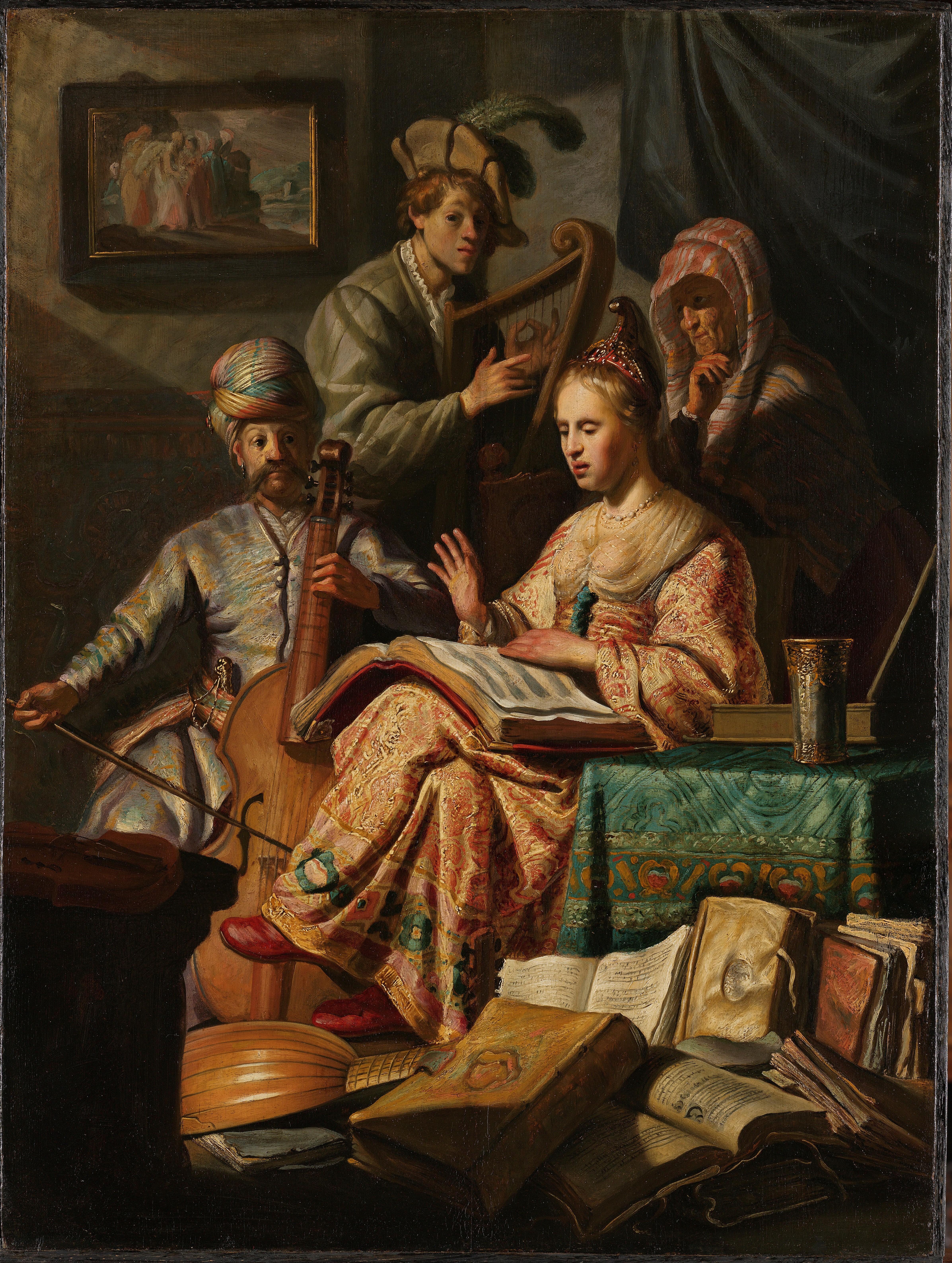 Musicerend gezelschap, Rembrandt  van Rijn, 1626.